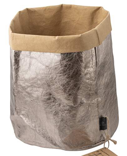 stil-macher Designer Krempelkorb Gr. XL Rund - 35x30cm | Aufbewahrungskorb aus TecCell | Lederoptik | VEGAN | Deko-Box | Geschenkbox | Papierkorb | in Vier tollen Farben Dunkel Silber (Dunkel Silber)