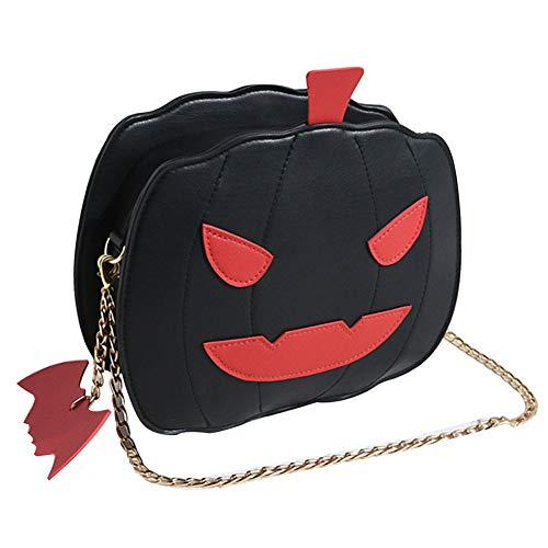 MFAHFD Halloween Kürbis Form Frauen Leder Reißverschluss Kette Crossbody Umhängetasche Geldbörse Handtasche Tote Kürbis Tasche Geschenk