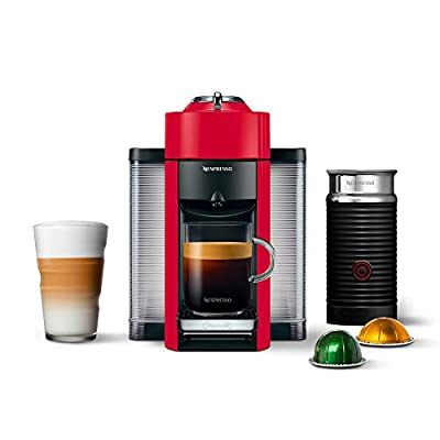 Nespresso ENV135RAE Coffee and Espresso Machine Bundle with Aeroccino Milk Frother by De'Longhi, Red