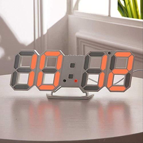MHJF Reloj Digital Pared 3D Reloj De Pared Número De Led Reloj De Tiempo Reloj Electrónico con Función De Repetición Práctico Naranja