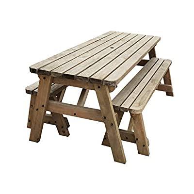 Victoria Rounded 6ft Wooden Table and Benches