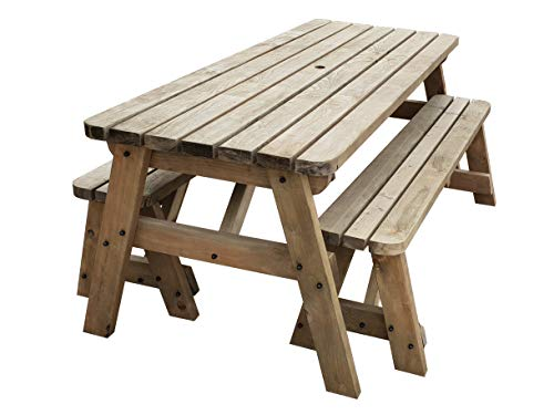 Victoria Compact Rounded Wooden Picnic Table and Benches Set, Space Saving Outdoor Garden Furniture With Benches Sliding Under The Table - Light Green or Rustic Brown Finish (6ft, Rustic Brown)