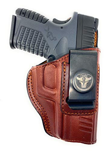 Cardini Leather – IWB Brown Leather Holster - Right Handed – for Glock 17, 22, 31, and 20 - for Sig Sauer P220, P226, P227 - for S&W M&P 45 - and Many Others of Similar Size