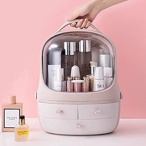 QXYMY Caja De Joyería Amplia Capacidad Impermeable Y A Prueba De Polvo Baño Caja De Almacenamiento Cosmético Detachable Desktop Maquillaje Organizador Protable Beauty Box
