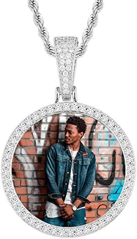Hip Hop Jewelry Memory Pendant Necklace Personalized Picture Pendant Round Photo Necklace Tennis product image