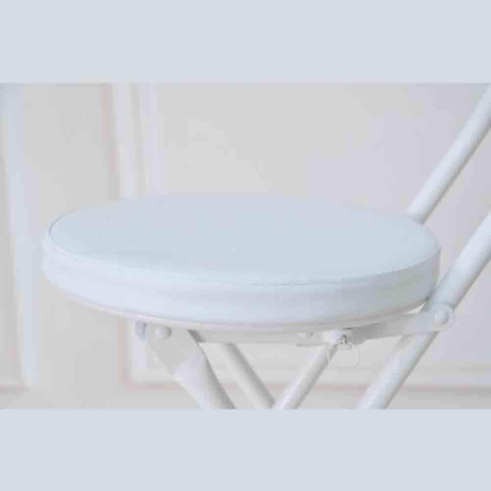 YCSD Ronde PU Rembourré Chaise Haute Pliante Petit-déjeuner Cuisine Tabouret Siège Souple, Assis Hauteur 45cm (Couleur : Blanc) Blanc