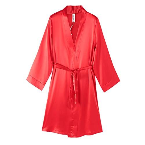 Albornoz largo para mujer, con cuello en V, tipo kimono, de manga larga, de poliéster, para dormitorio, color rojo, talla XL: