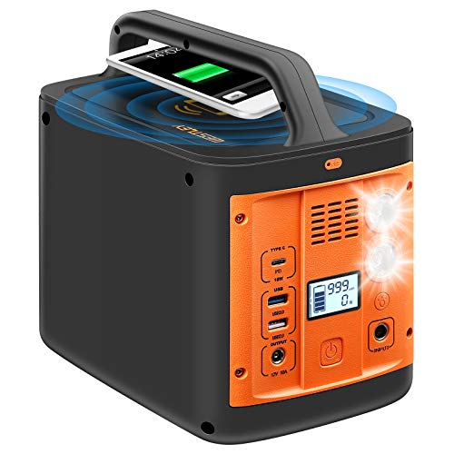 WESTLEY Portable Power Station, 298Wh Solar Outdoor Generator, 92800mAh, Wireless Charging/Type C/USB/AC/DC, with SOS Flashlight, CPAP Battery Power Supply, Backup Battery for Camping Travel Hunting, WTY-300