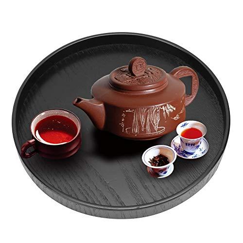 Bricka, vacker och naturlig tallrik Elegant och enkel stil som ofta används för hem för kök(black, 24cm, 12)