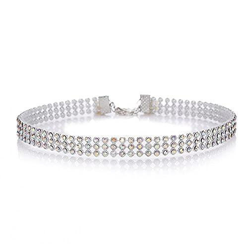WQZYY&ASDCD Collar de mujer con diamantes de imitación de cristal collar de mujer accesorios de boda cadena color plata punk gótico collar joyería de las mujeres, 1 cm, multicolor, 1CM Multicolor