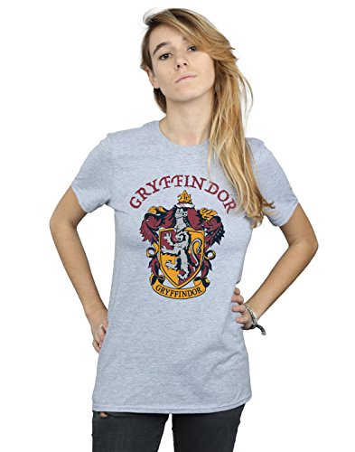 Harry Potter Damen Gryffindor Crest Boyfriend Fit T-Shirt Sport Grau Small
