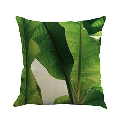 4 18 X 18 Inch Tropical Tree Leaves Print Cotton Linen Decorative Throw Pillow Cover Cushion Case Pillowcase