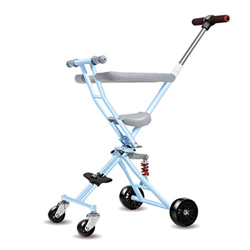 CAIMEI Artifact - Cochecito plegable con 4 ruedas para 1 – 3 – 6 años de edad, asiento suave, rueda de flash rosa, azul, gris y negro (color: C), B