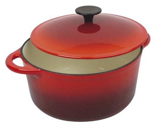 Crealys 511191, COCOTTE ronde en fonte émaillée 4 litres - Extérieur rouge et intérieur blanc - toutes sources de chaleur y compris induction