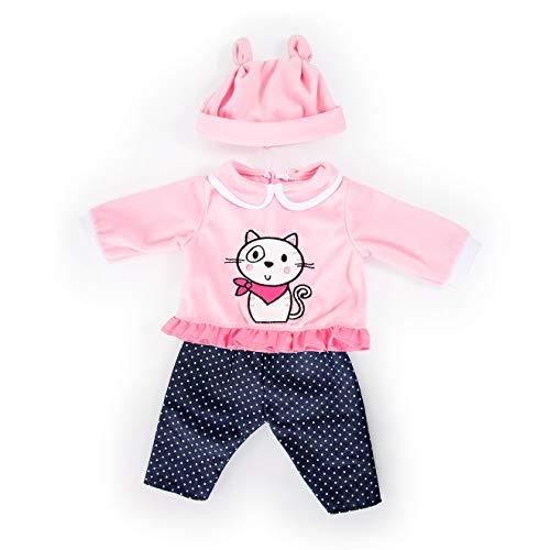 Bayer Design- Ropa 33 a 38 cm, Accesorios para muñeca, Pantalones, Top y Gorra, Conjunto, Traje con Gato y diseño elaborado, Color rosa, azul (83886AA) , color/modelo surtido