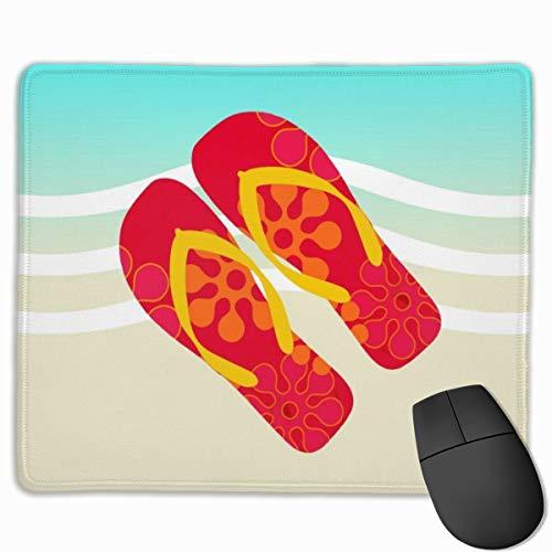 Jujupasg-Mauspad, Rutschfestes, Wasserdichtes Mousepad Auf Gummibasis Für Laptops - Rote Flip Flops Beach Waves