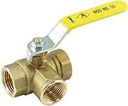 NIGO 180SS Series 3-Way (L-Port) Forged Brass Ball Valve, Lever Handle, NPT Female, Full Port 400WOG (1/4