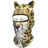 耳付き 動物柄 フェイスマスク 3D アニマル マスク 速乾 フルフェイス マスク バラクラバ 目出し帽/サバイバルゲーム・自転車・バイク・アウトドア・コスプレ (豹)