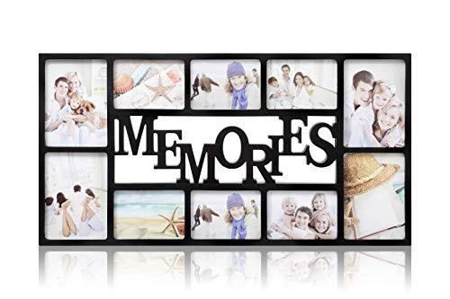 ARPAN - Memories-Bilderrahmen, für 10 Fotos, 71 x 36 x 3 cm, Schwarz