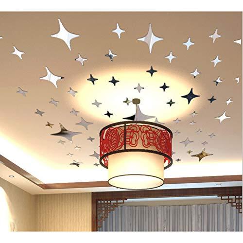 ZNBBZ 43 Stücke 3D Star Star Acrylspiegel Wandaufkleber Decke Deckendekoration Tv Hintergrund Wand Schlafzimmer Wandaufkleber
