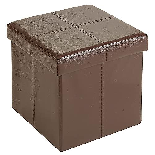 "Fresh Home Elements FHE 12"" Folding Storage Ottoman Cube, 12x12x12, Brown Faux Leather"