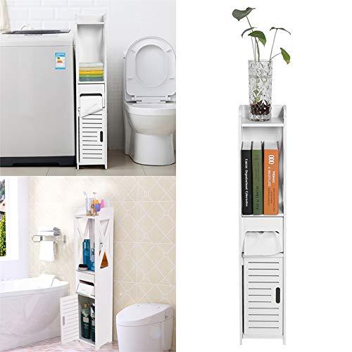 Schmaler hoher Badezimmerschrank, Badezimmer-Aufbewahrung, bodenstehend, weiß, robuste Badezimmermöbel, Badezimmer, WC, schmales Regal, Badezimmerschrank, 80 x 15,5 x 15 cm