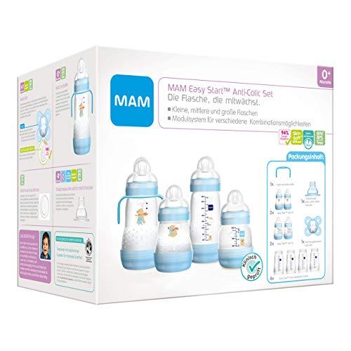 MAM Easy Start Anti-Colic Babyflaschen Set, mitwachsende Baby Erstausstattung mit Schnuller, Flaschen etc., Baby Geschenk Set, ab Geburt, Bär