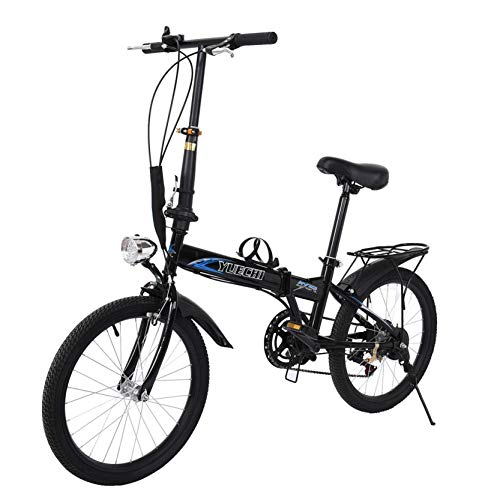 【USA in Stock 】 Leisure 20in 7 Speed ​​City Folding Mini Compact Bike Bicycle Urban Commuters,Boys Girls Best Gift (Black)