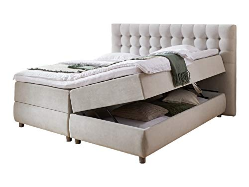 Atlantic Home Collection Boxspringbett TINA, 180x200 cm, inklusive Topper (Härtegrad H2) und Bettkästen (2x), hellgrau, 180 x 200 cm