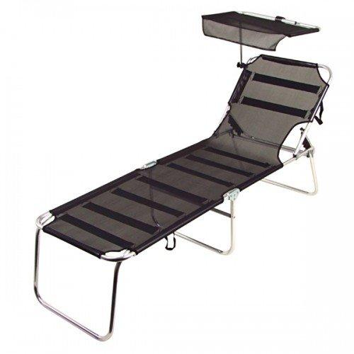 BURI Alu-Liege schwarz mit Sonnenschutz Sonnenliege Gartenliege Terrassenliege Liege