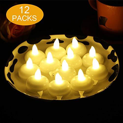 12 Velas LED Flotantes, flintronic ® Velas Led de Té Velas Eléctricas con Baterías para San Valentín, Cumpleaños, Navidad, Halloween Decoración, Blanco Cálido [Clase de eficiencia energética A]