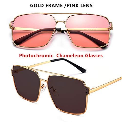 ERIOG Gafas de Sol Polarizadas Gafas de Sol cuadradas fotocromáticas Hombres Mujeres Gafas de camaleón polarizadas Gafas de Sol HD Azul Amarillo Día Visión Nocturna Conducción Gafas