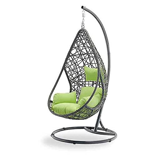 MKKYDFDJ Hängender Eiersessel mit Ständer, freistehender Rattan-Eierstuhl mit Ständer, für drinnen und draußen, Terrasse, Garten, verstellbare Schlaufe, zusammenklappbarer Rattan-Schaukel