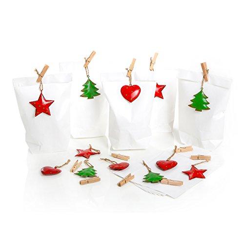 12Bianca con motivi natale Decorative in metallo in rosso, verde e marrone mollette in legno (Bustina di 14x 22x 5,6cm)? Statua e una confezione per regali Natale