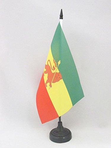 AZ FLAG TISCHFLAGGE ÄTHIOPIEN MIT LÖWEN 21x14cm - ÄTHIOPIEN TISCHFAHNE 14 x 21 cm - flaggen
