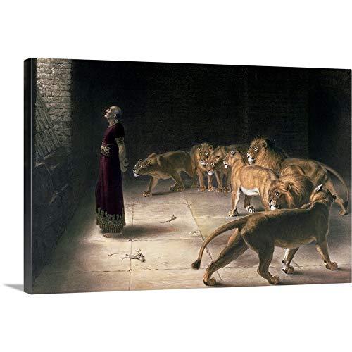 "Daniel in The Lions Den, Mezzotint Canvas Wall Art Print, 48""x32""x1.25"""