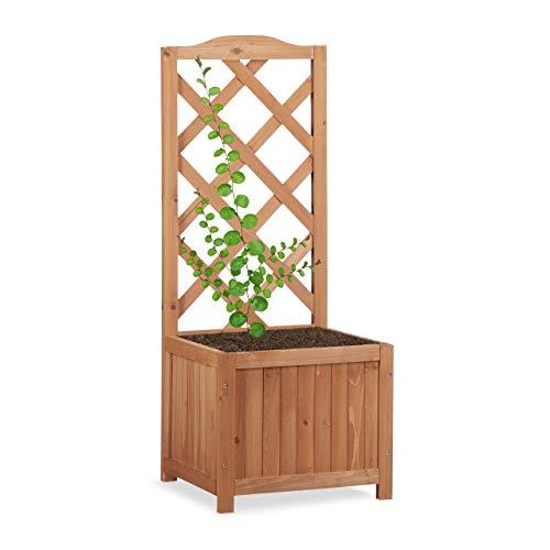 Relaxdays Rankkasten Holz, Garten Pflanzkübel m. Rankgitter, 20 L Pflanzkasten, 90 cm Rankhilfe wetterfest, natur