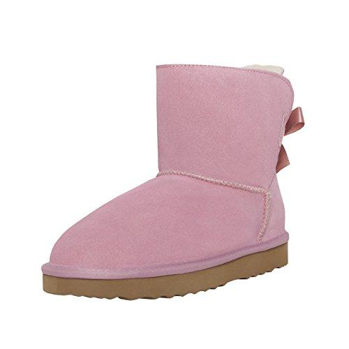 SKUTARI BRAND OF QUALITY GOODS SKUTARI Playful Single Bow Boots, handgefertigte, italienische Lederstiefel für Damen mit gemütlichem Kunstfellfutter, Rutschfester und gepolsterter Sohle (36 EU, Pink)