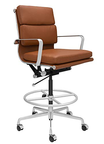 SOHO Soft Pad Drafting Chair - Ergonomically Designed and Commercial Grade Draft Height for Standing Desks (Brown)