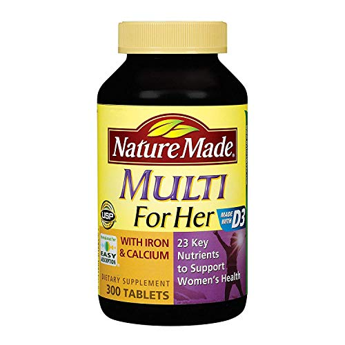 Nature Made, Multi Vitamins for Her with Iron and Calcium and 23 Key Nutrients to Support Women's Health (300 Tablets)