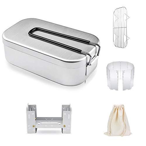 YOKELLMUX メスティン 飯盒 キャンプ用品 5点セット アルミ 軽量 半自動炊飯 アウトドア 自宅 調理器具