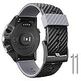 Anbest Bracelet de rechange compatible avec Suunto 7/Suunto 9, 24 mm Bracelet de montre en silicone pour montre connectée Suunto 9 Baro/Spartan Sport/D5 Noir/gris