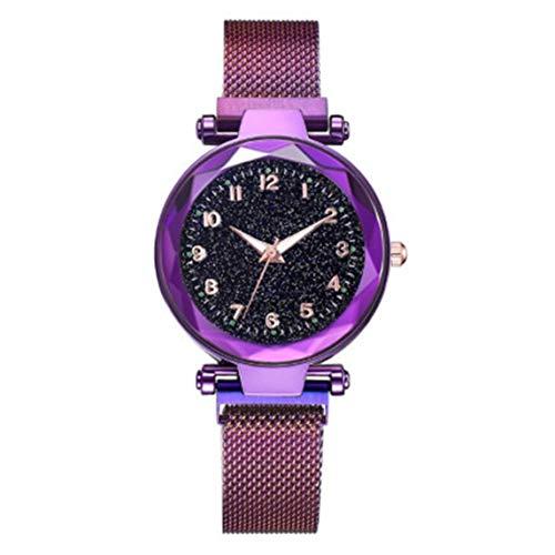 AnamSafdarButt59 La Noche se comporta de Manera Juvenil con una Mirada cuidadosa Starry Digital Surface Milan Net Strap with Aliexpress Ladies Watch - Purple