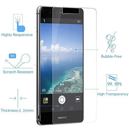 [3 Stück] Huawei P9 Schutzfolie, MaxTeck Gehärtetem Glas Panzersglas Hartglas Displayschutz für Huawei P9 9H Härte, Anti-Kratzen, Anti-Öl, Anti-Bläschen - 3