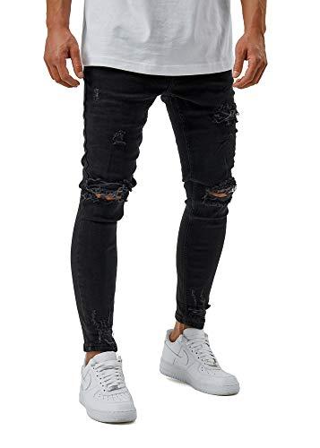 Burocs Herren Destroyed Jeans Skinny Fit Stretch Dunkelblau Blau Schwarz BR1512, Farbe:Schwarz (6001), Hosengröße:W29 L32