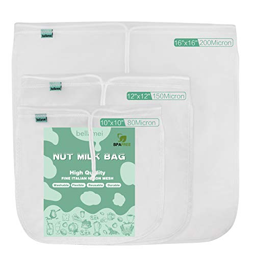 "Bellamei Nut Milk Bag Reusable 3 Pk Strainer Bags for Almond/Soy Milk Greek Yogurt Best for Cold Brew Coffee Tea Beer Celery Juice (80micron 10""×10""/150micron 12""×12""/200micron 16""×1)"