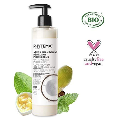 Phytema • Après Shampoing Bio • Démêlant et Protecteur • Tous Types de Cheveux • A Base de 4 Huiles Biologiques : Baobab, Coco, Argan et Beurre de Karité • Sans Sulfate, Paraben, Silicone • 250 ml