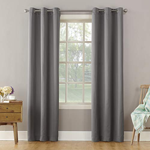 "Sun Zero Becca Energy Efficient Grommet Curtain Panel, 40"" x 108"", Gray"