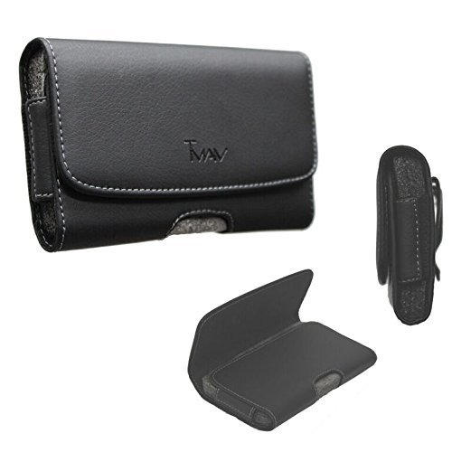 TMAN XL Size Leather Holster Carry Pouch case for HTC Desire 626 (fits The Phone with Otter Box/Dual Layer Hybrid Case)