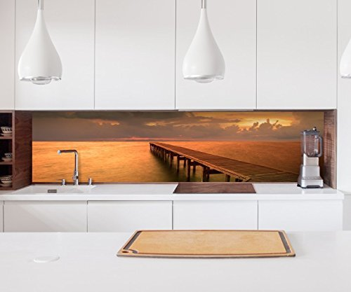 Aufkleber Küchenrückwand Steg Holz Pier Meer Sonnenuntergang Folie selbstklebend Fliesen Möbelfolie Spritzschutz 22A1092, Höhe x Länge:60cm x 200cm